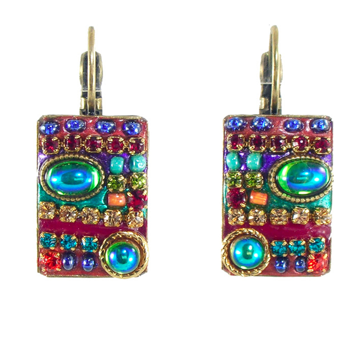 Michal Golan Earrings -Multicolor pearled rectangle