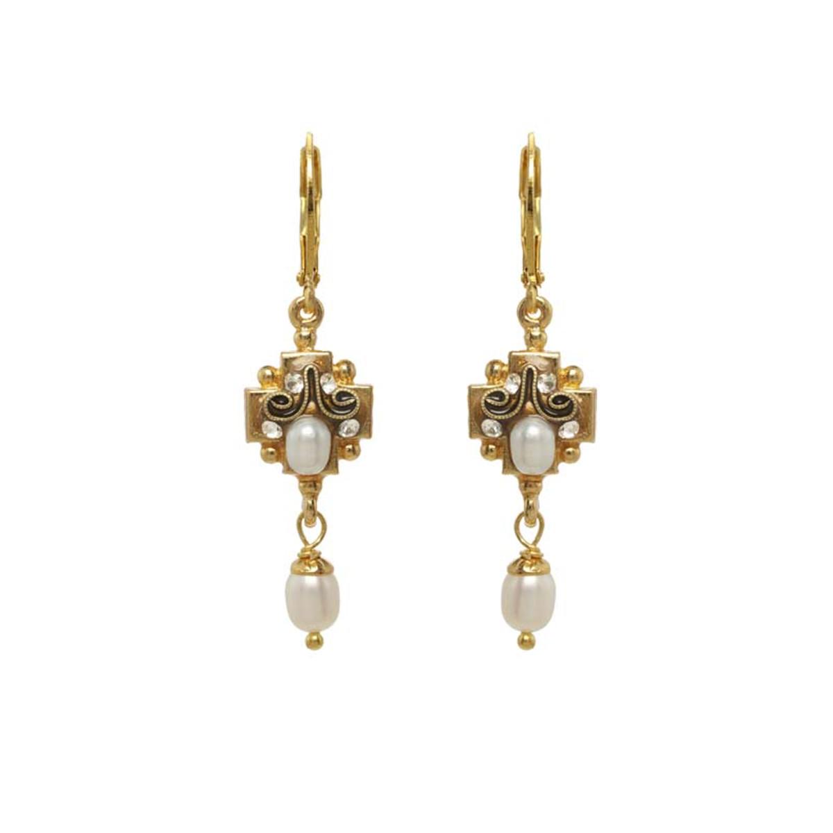Michal Golan White Elegante Earrings