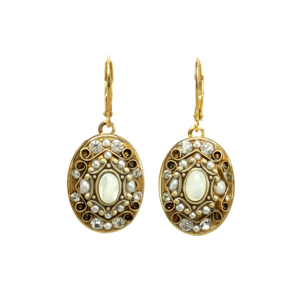 Michal Golan White Earrings Elegante