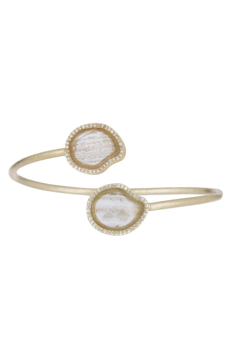 Marcia Moran White Bracelet Two Circles
