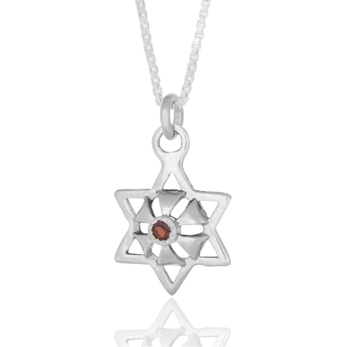 Kabbalah Silver Star Abundance Pendant With An Inserted Ruby