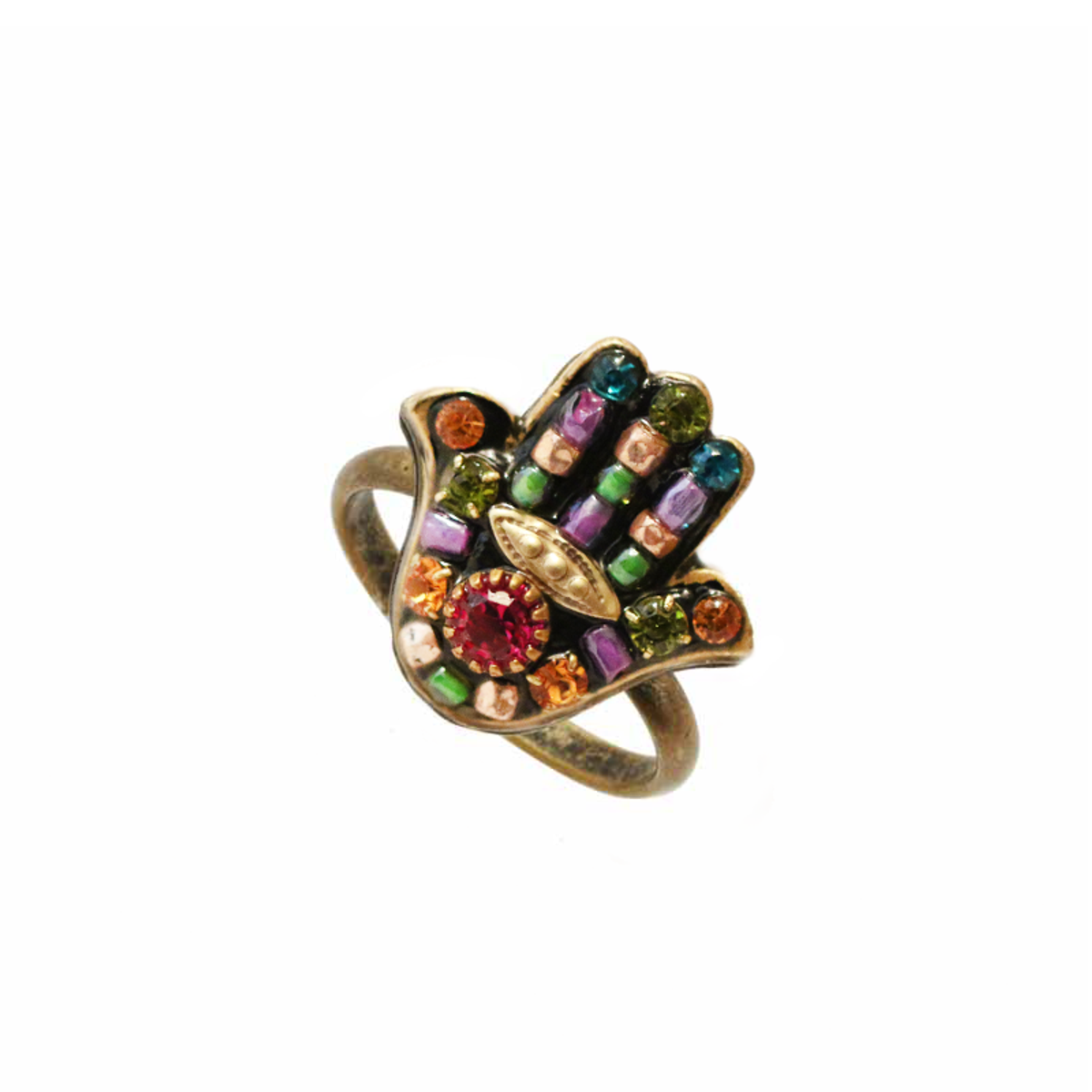 Michal Golan Jewelelry Black Flower Hamsa Adjustable Ring