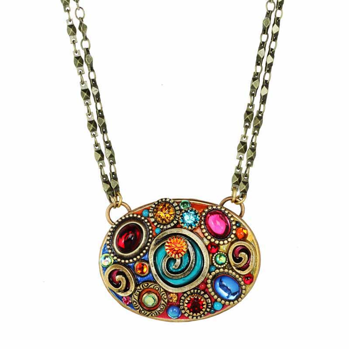 Michal Golan Confetti Large Oval On Chain Necklace