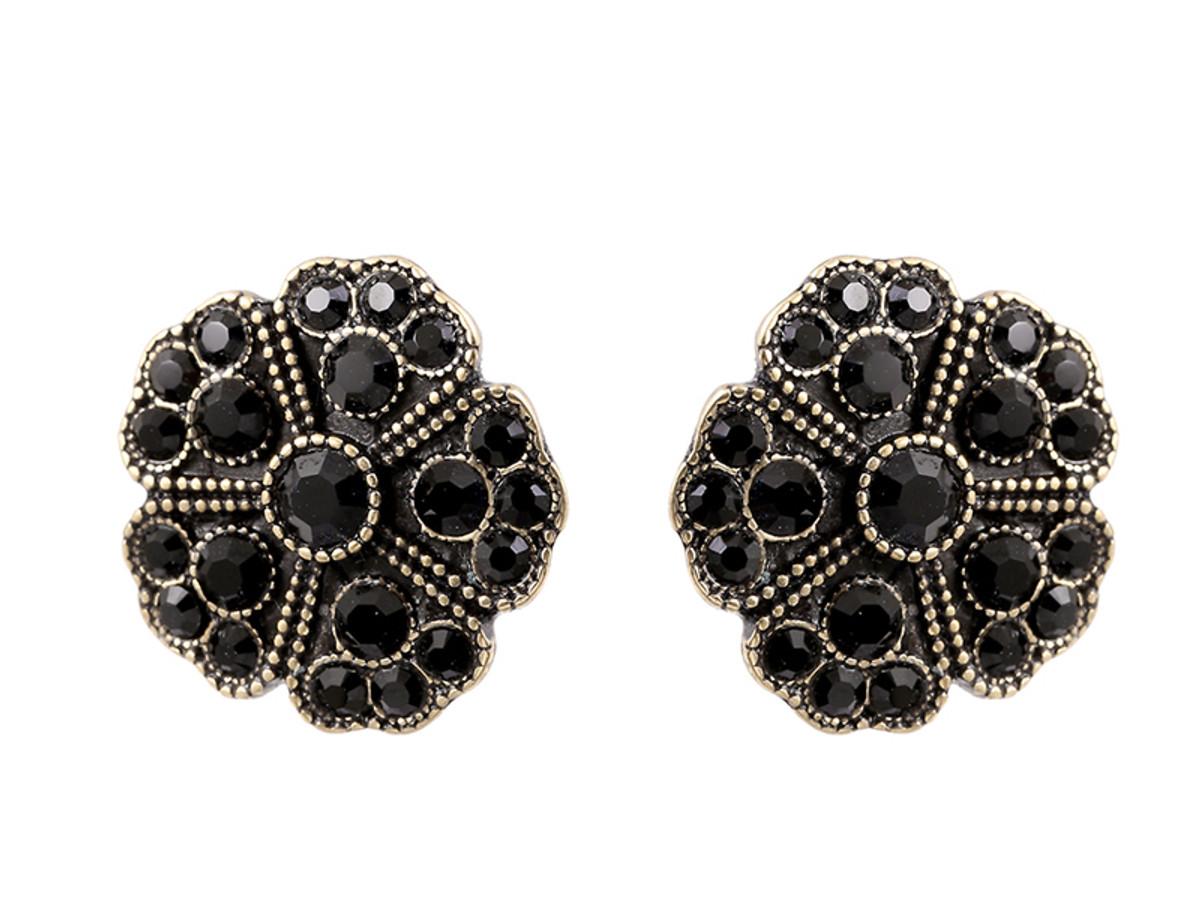 Michal Negrin Black Round Flower Earrings - Multi Color