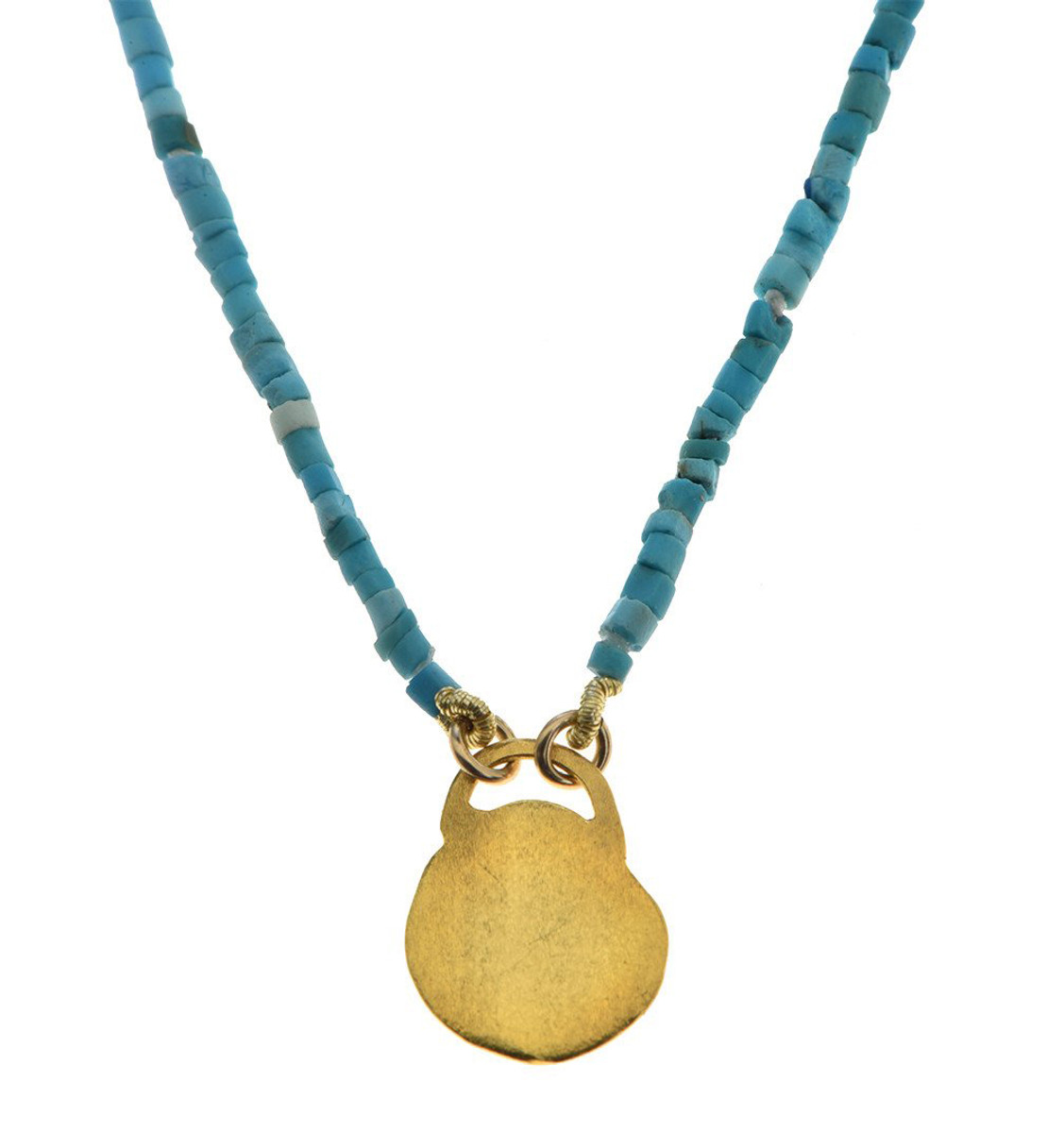 Turquoise and Pure Gold Necklace by Nava Zahavi - New Arrival