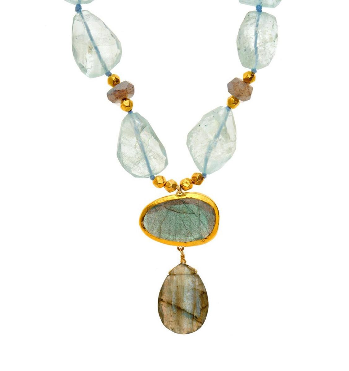 Aqua Nugget and Labradorite Necklace by Nava Zahavi - New Arrival