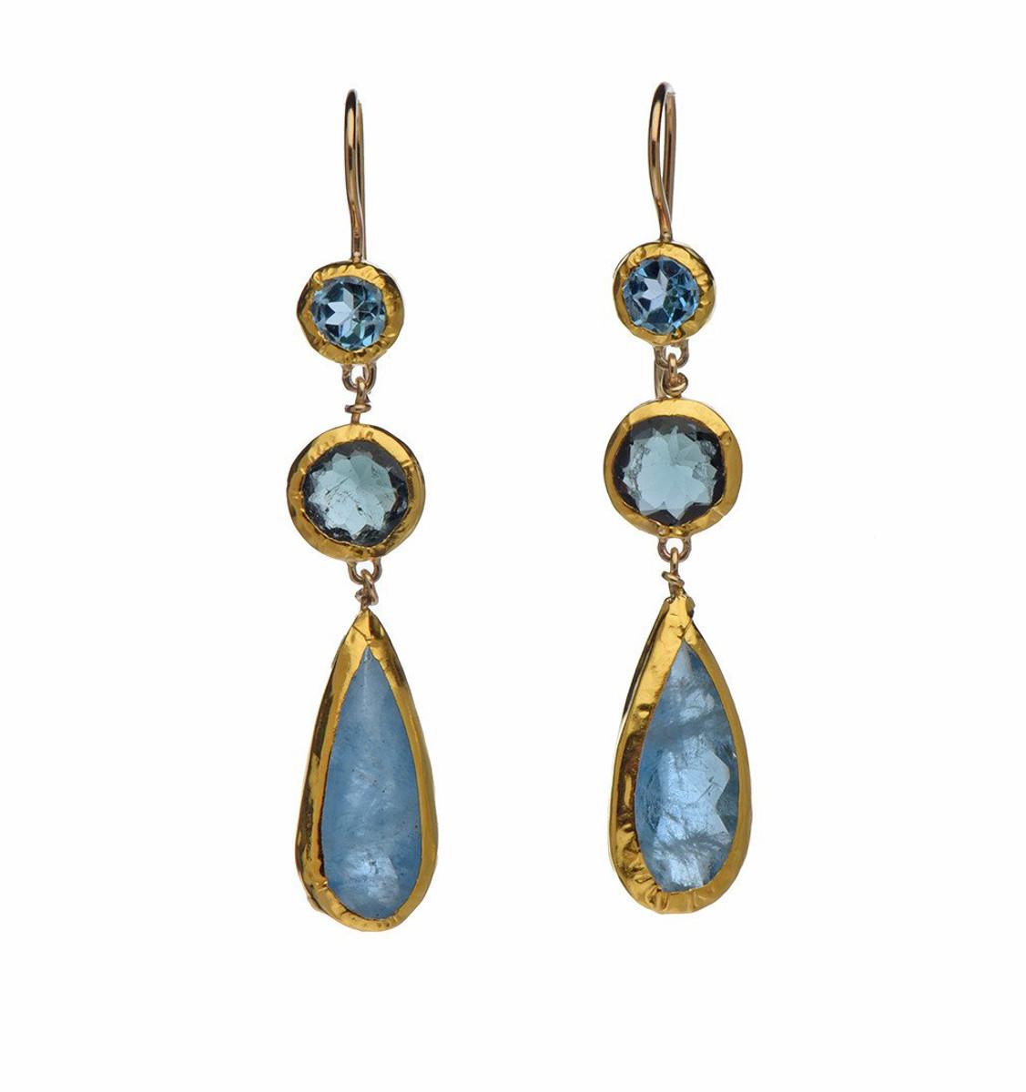 Long Blue Topaz and Aquamarine Earrings - New Arrival
