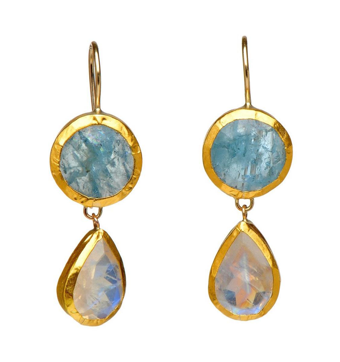 Peaceful Aquamarine and Moonstone Earrings - New Arrival