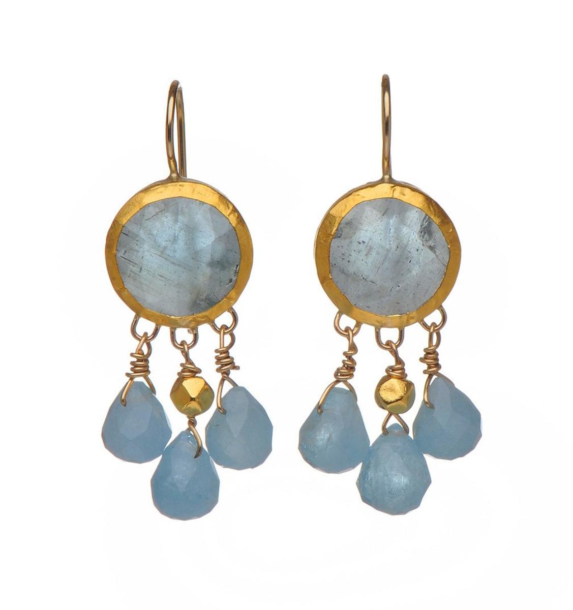 Aquamarine dangling Earrings by Nava Zahavi