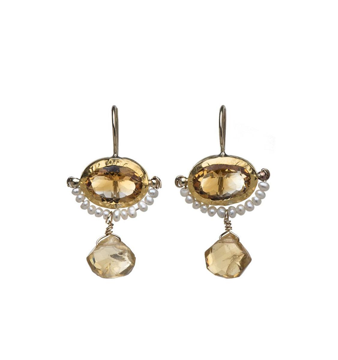 Golden Eye Earrings by Nava Zahavi - New Arrival