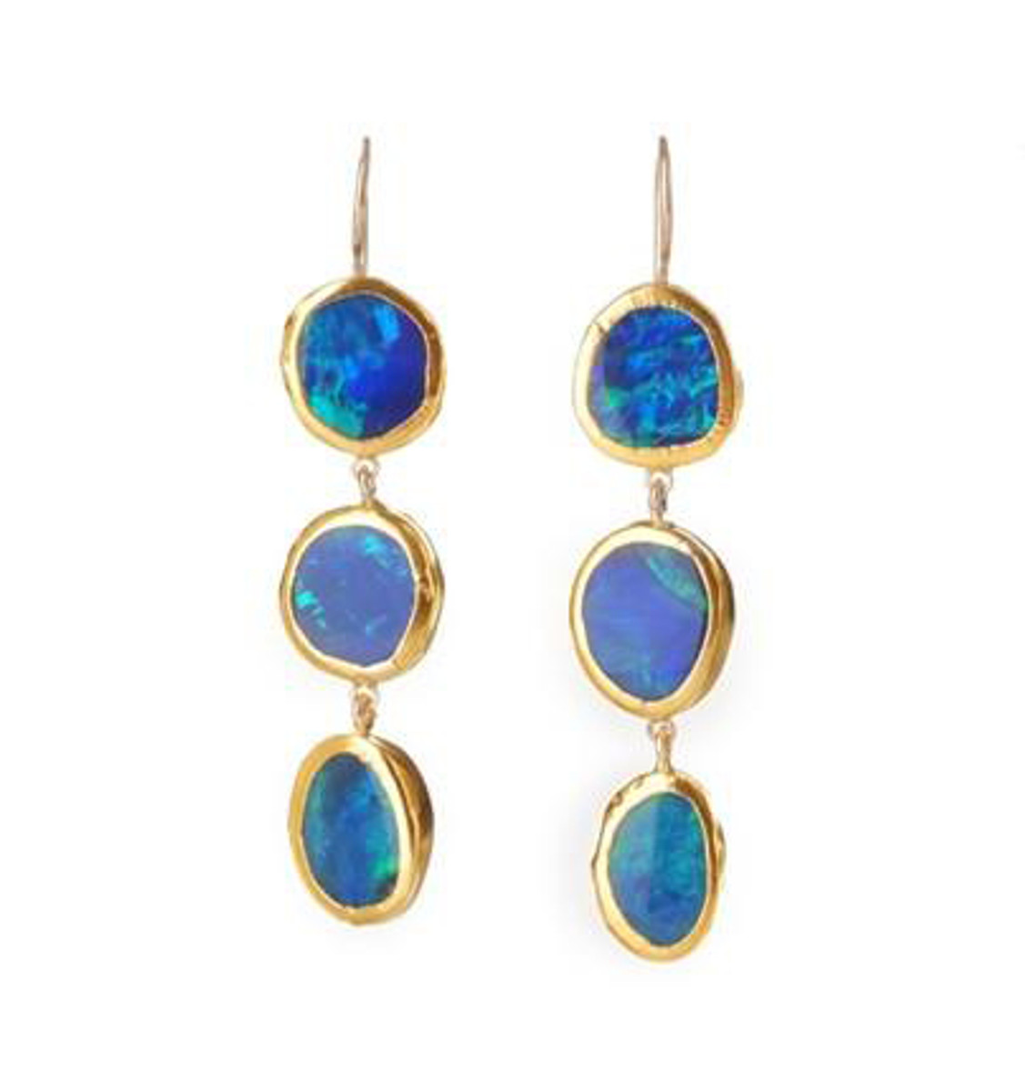 Long Bright Blue Opal Earrings by Nava Zahavi - New Arrival