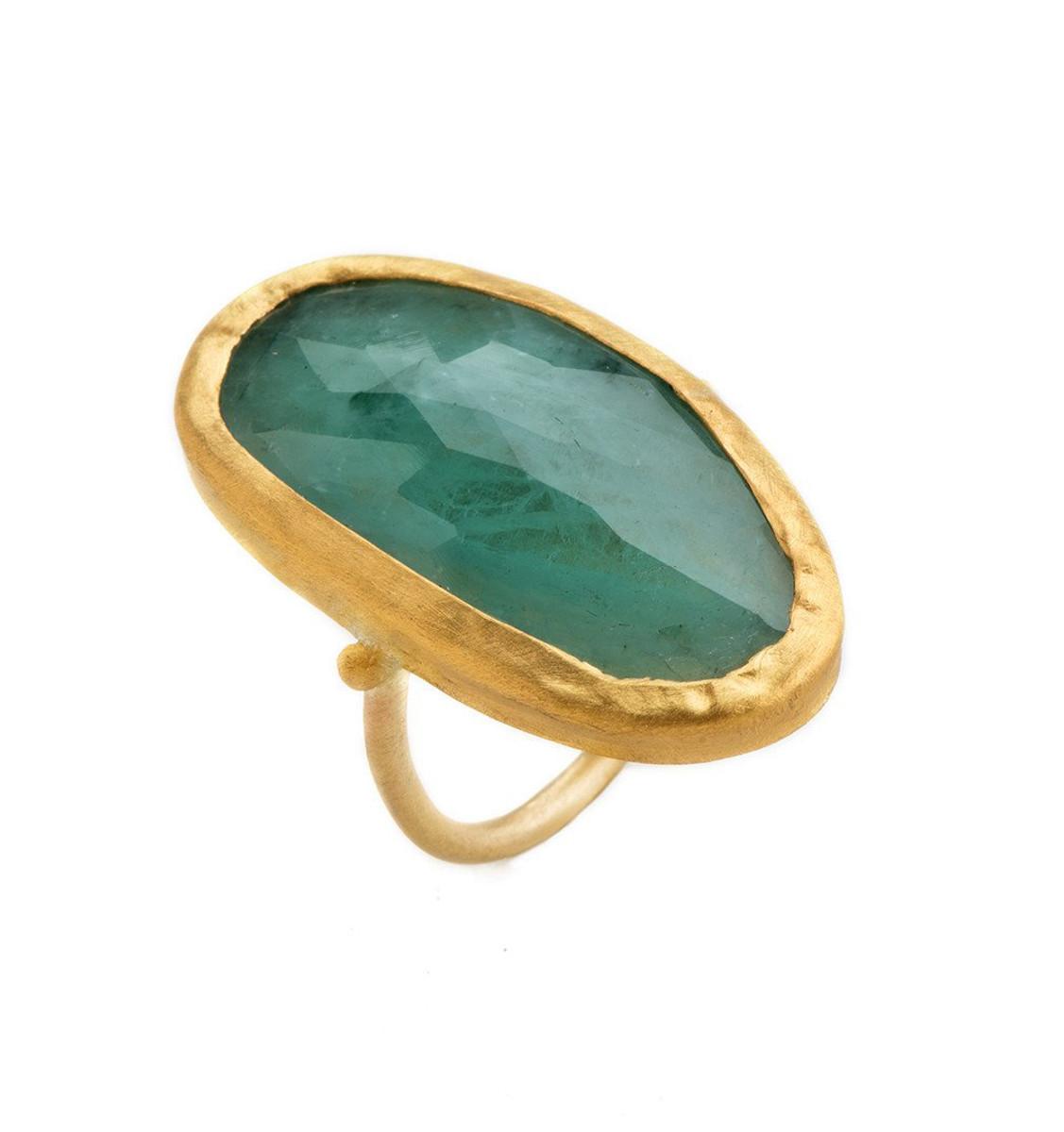 Great Emerald Gold Ring by Nava Zahavi - New Arrival