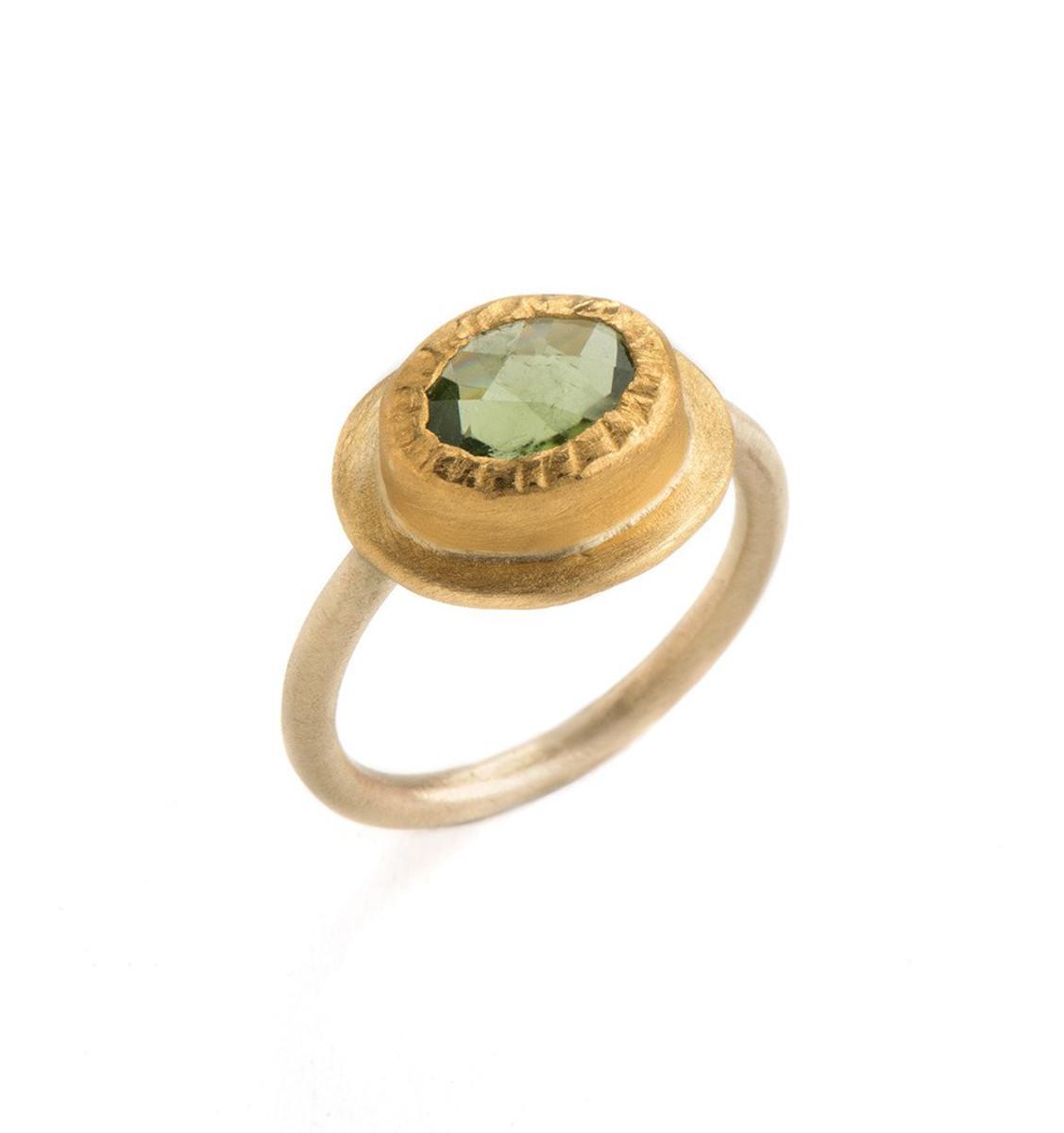Fresh Mint Peridot Gold Ring by Nava Zahavi - New Arrival