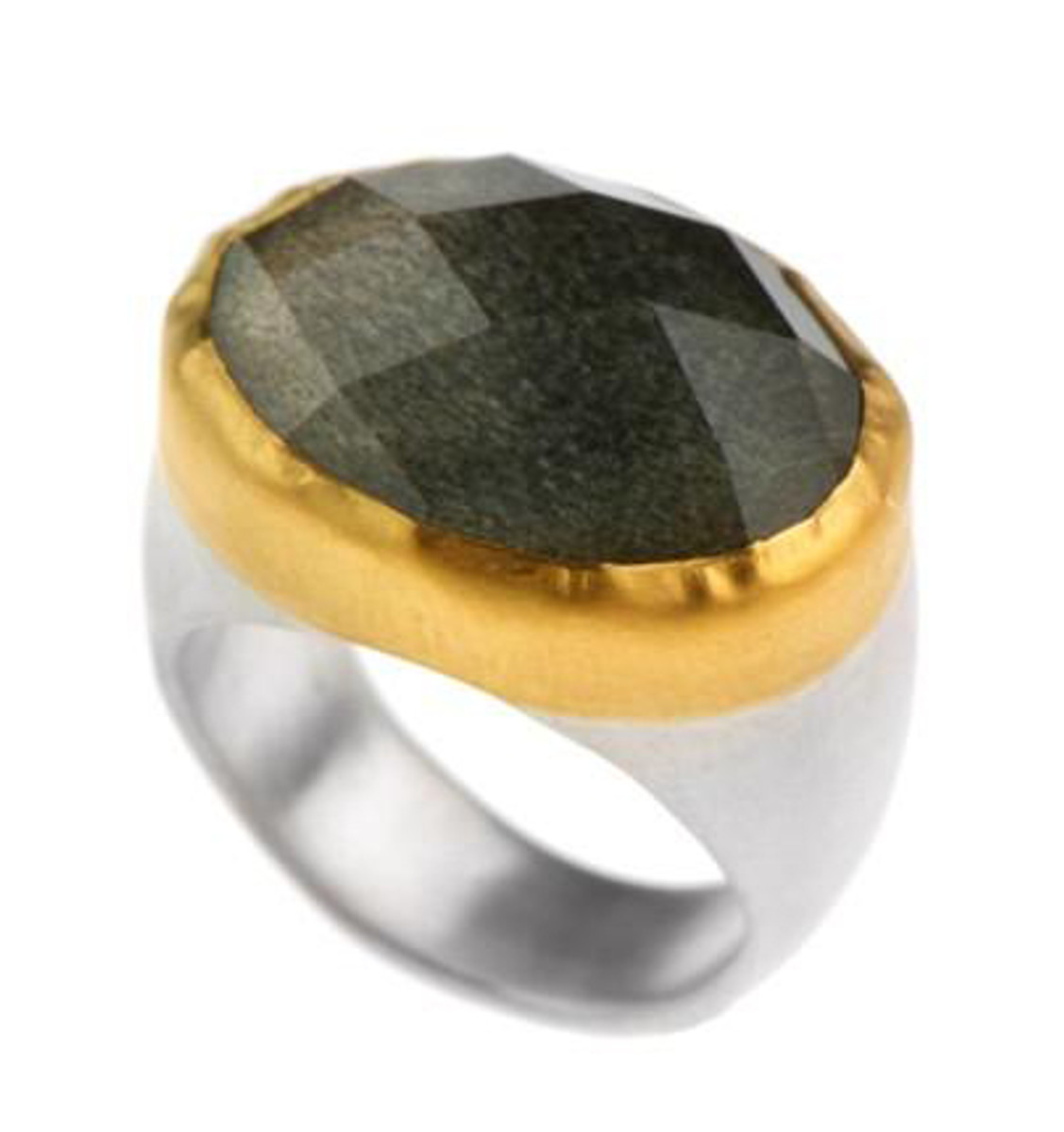 Crystal Ball Obsidian Ring by Nava Zahavi - New Arrival