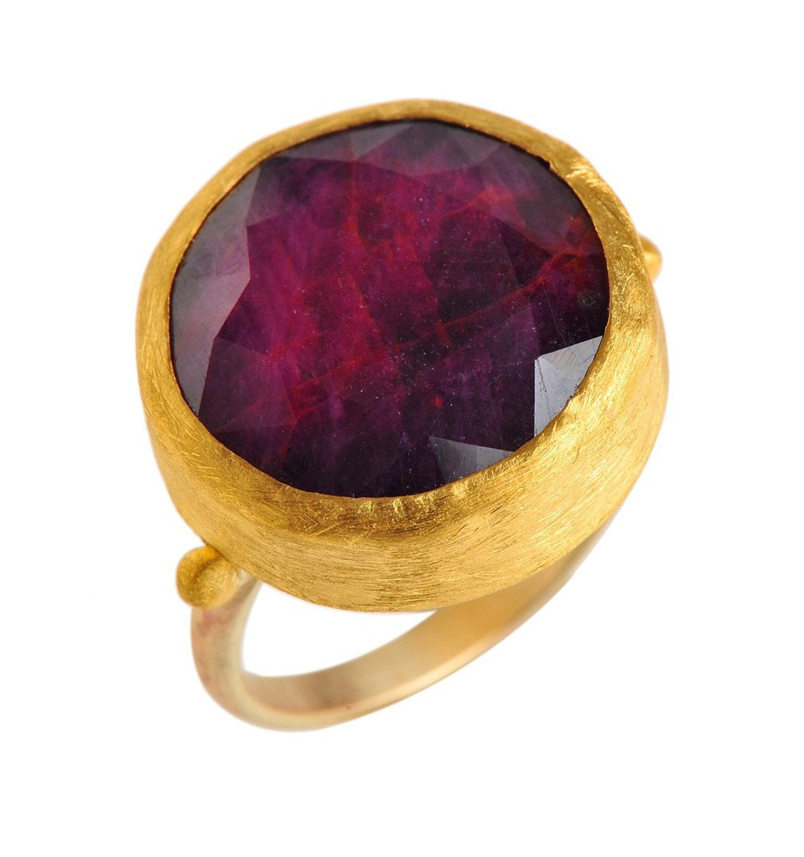 Faceted Ruby Gold Ring by Nava Zahavi - New Arrival
