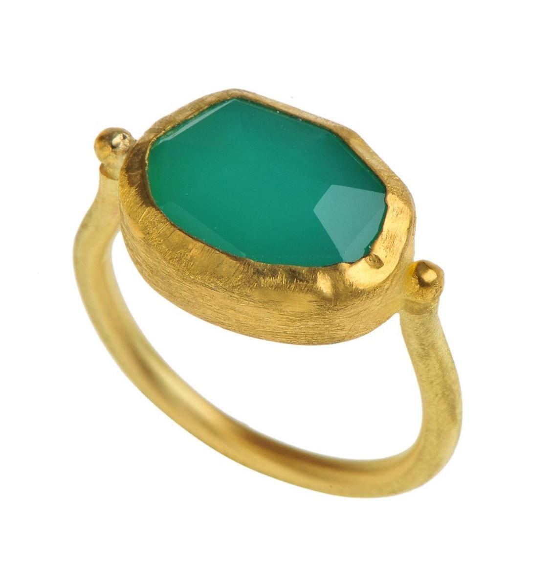 Chrysophase Gold Ring by Nava Zahavi - New Arrival