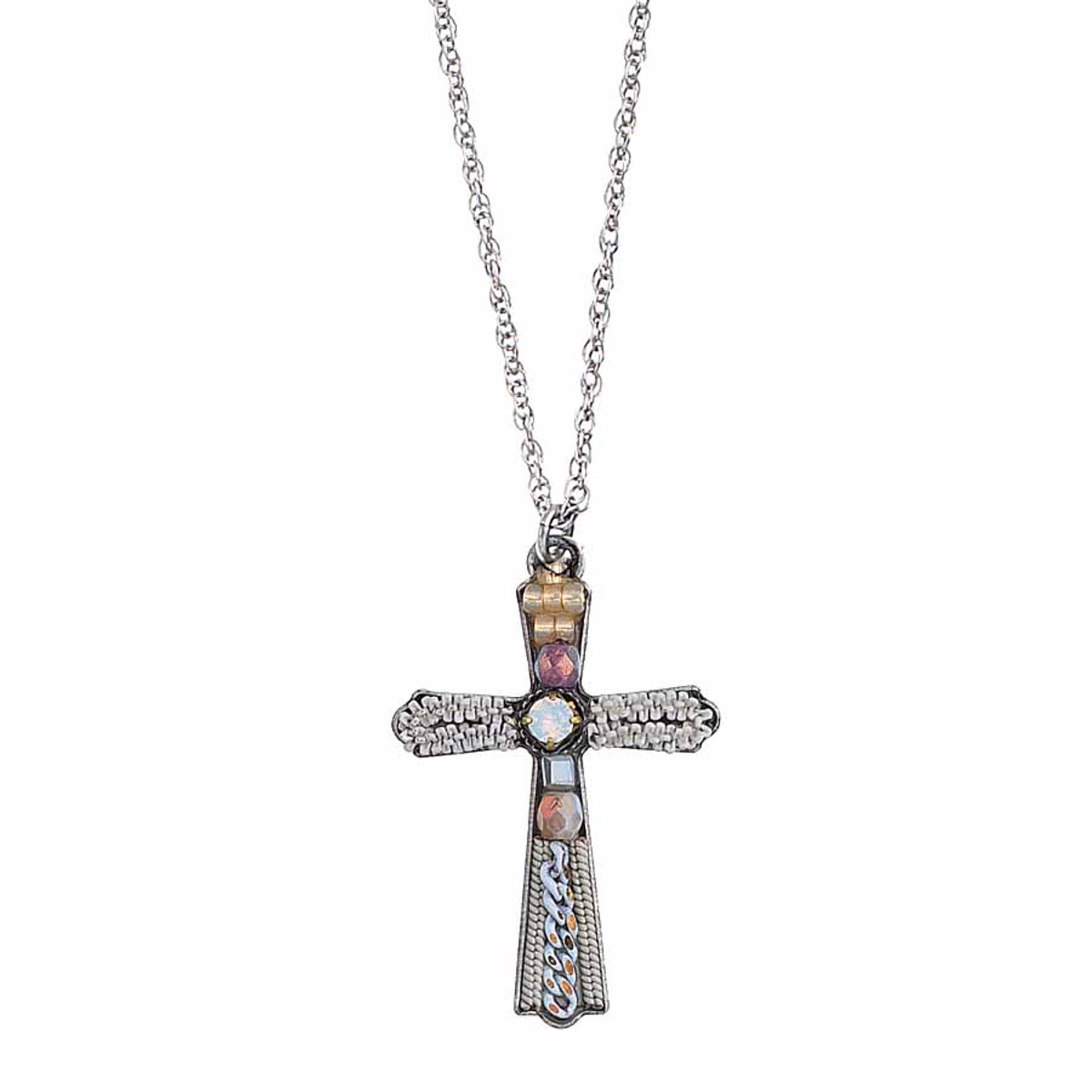 Ayala Bar Lord Bless You White Cross Pendant Necklace