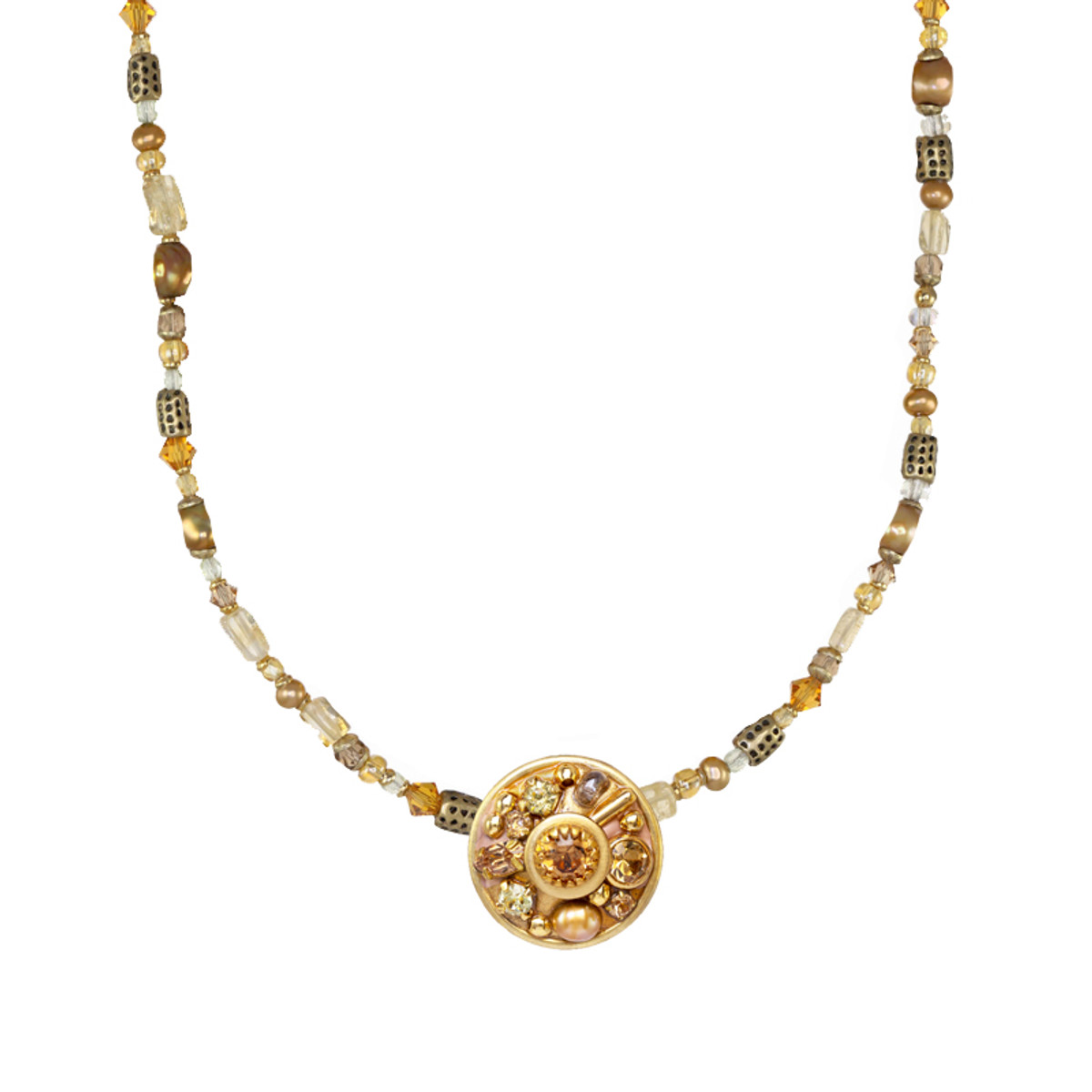 Michal Golan Citrine Round Pendant on Beaded Chain II