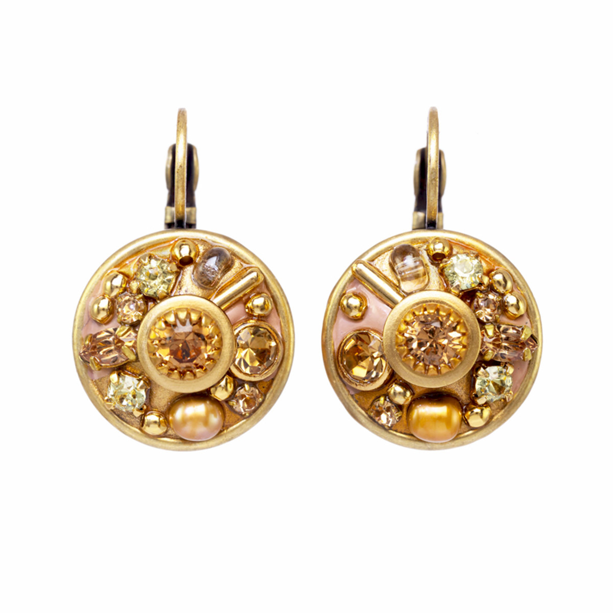Michal Golan Citrine Round Sparkling Lever Back Earrings