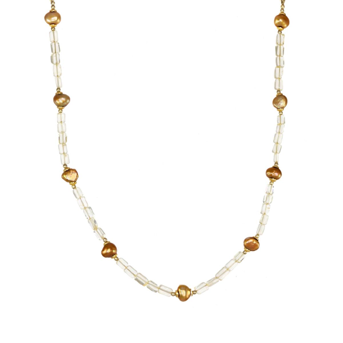 Michal Golan Citrine Single Strand Pearl Necklace