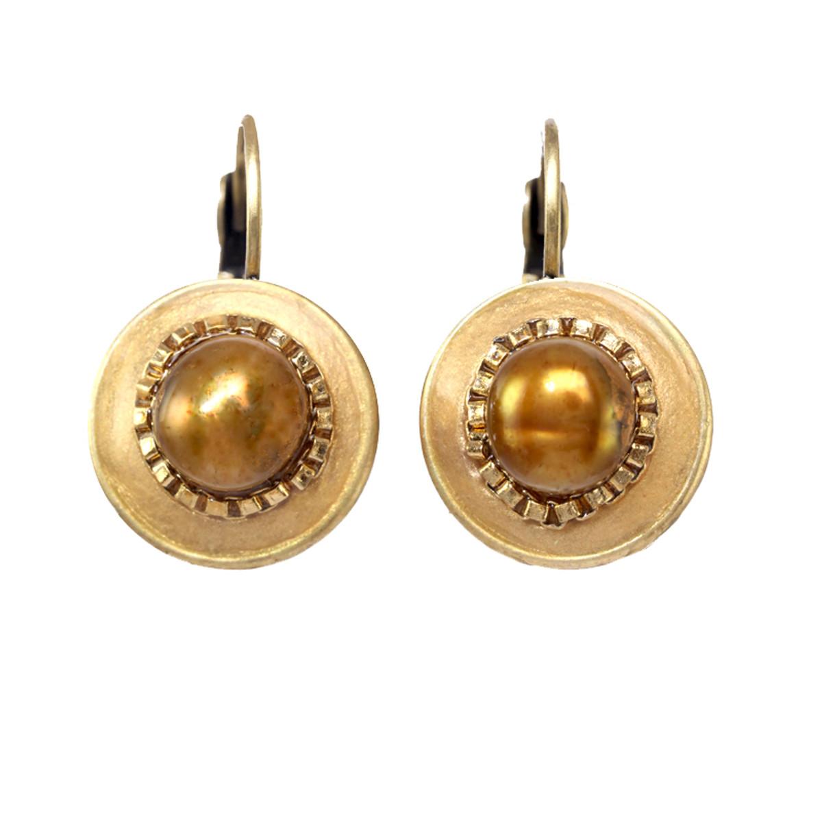 Michal Golan Citrine Small Gold Stud Earrings