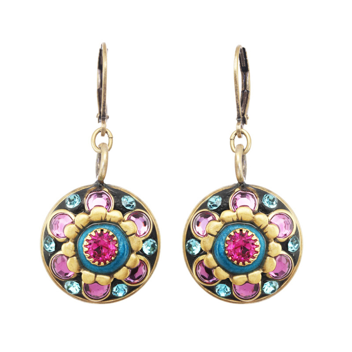 Michal Golan Navy Flower Earrings