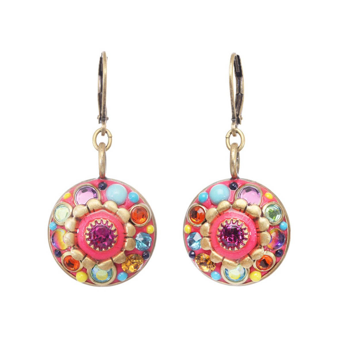 Michal Golan Neon Pink Flower Earrings