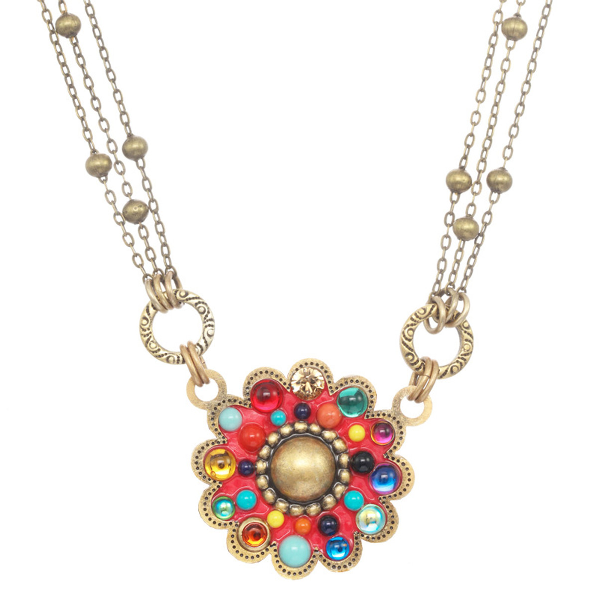 Michal Golan Neon Pink Flower Necklace