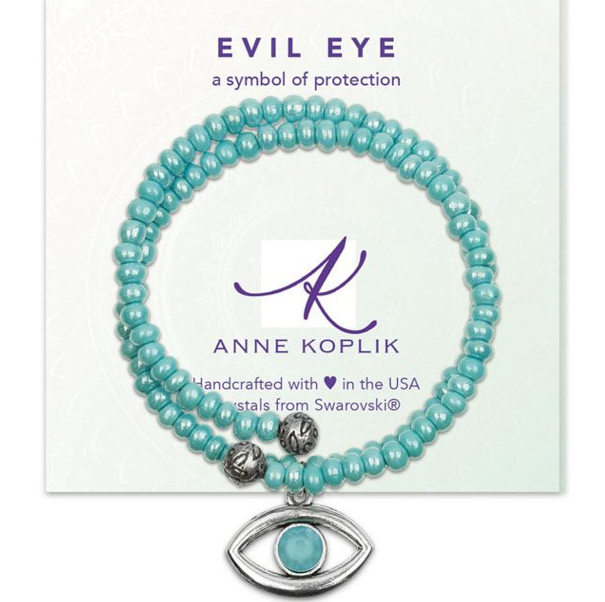 Anne Koplik Aqua Evil Eye Wrap Bracelet