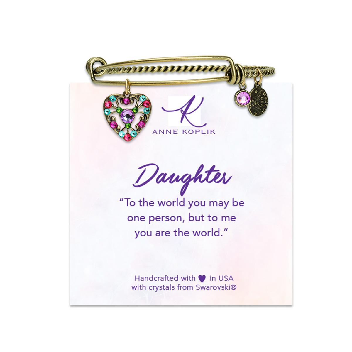 Anne Koplik Special Edition Daughter Heart Charm Bangle
