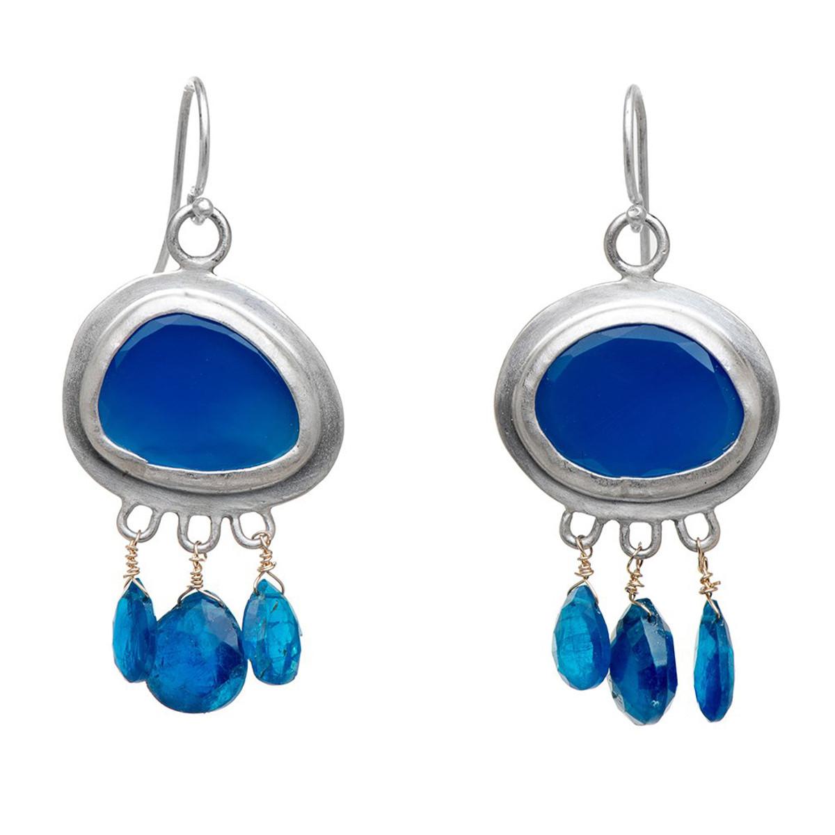 Nava Zahavi Silver Agat Twist Earrings