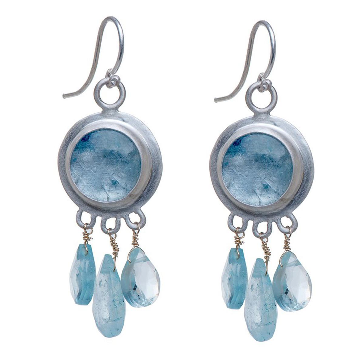 Nava Zahavi Silver Aquamarine Moments Earrings