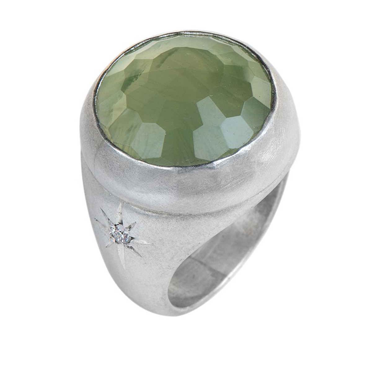 Nava Zahavi Silver Flower Green Ring