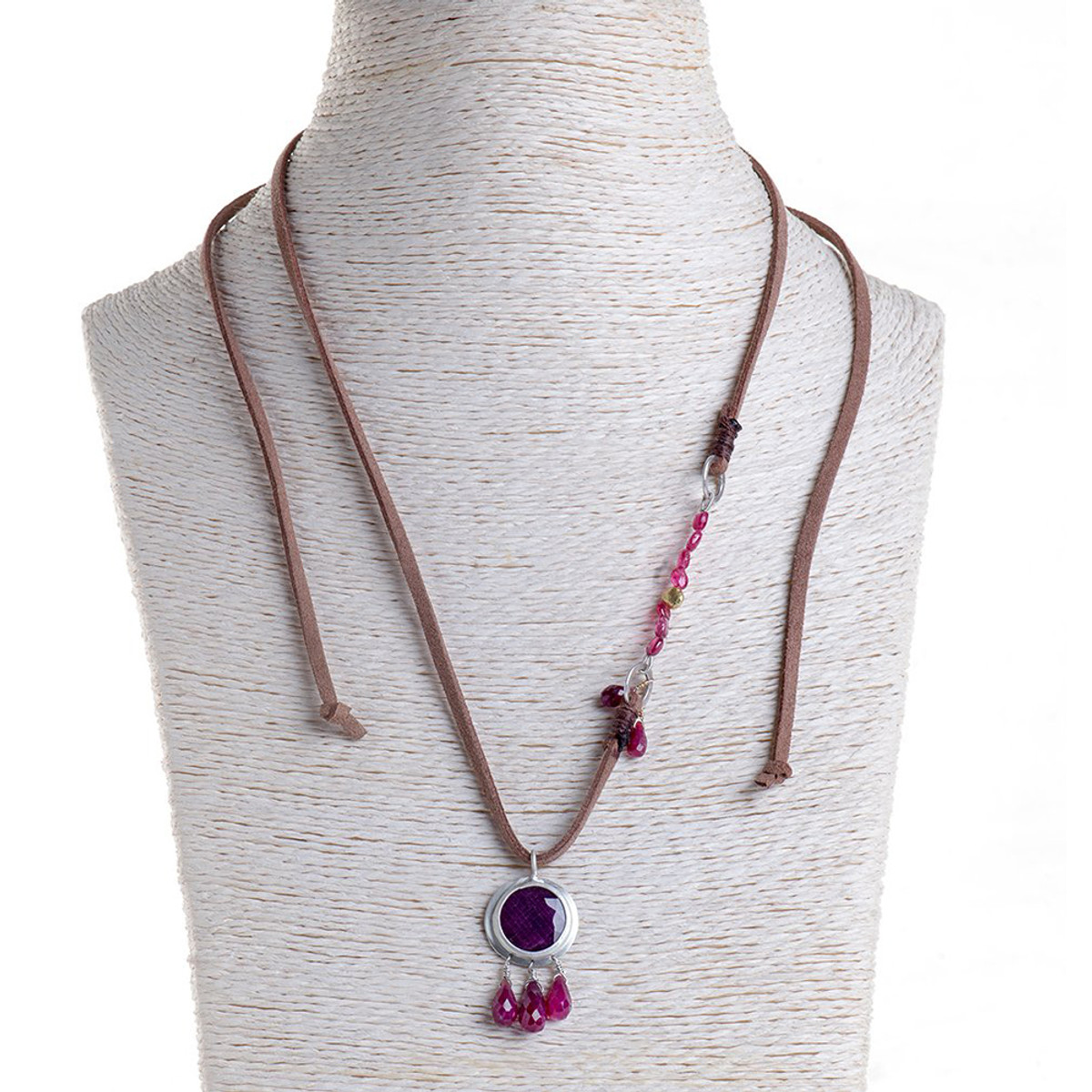 Nava Zahavi Silver Ruby Kiss Necklace