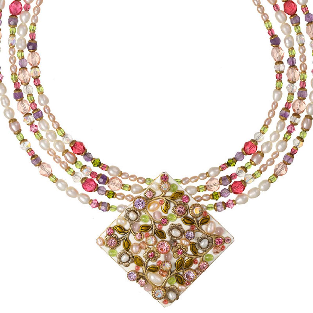 Michal Golan Pearl Blossom Beaded Diamond Necklace