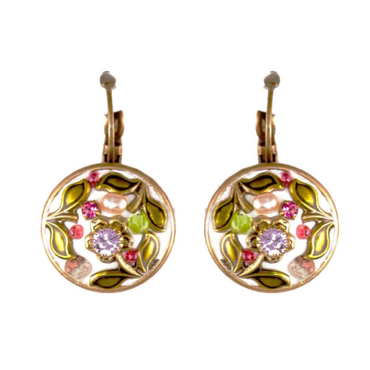 Michal Golan Pearl Blossom Circle Dangling Earrings