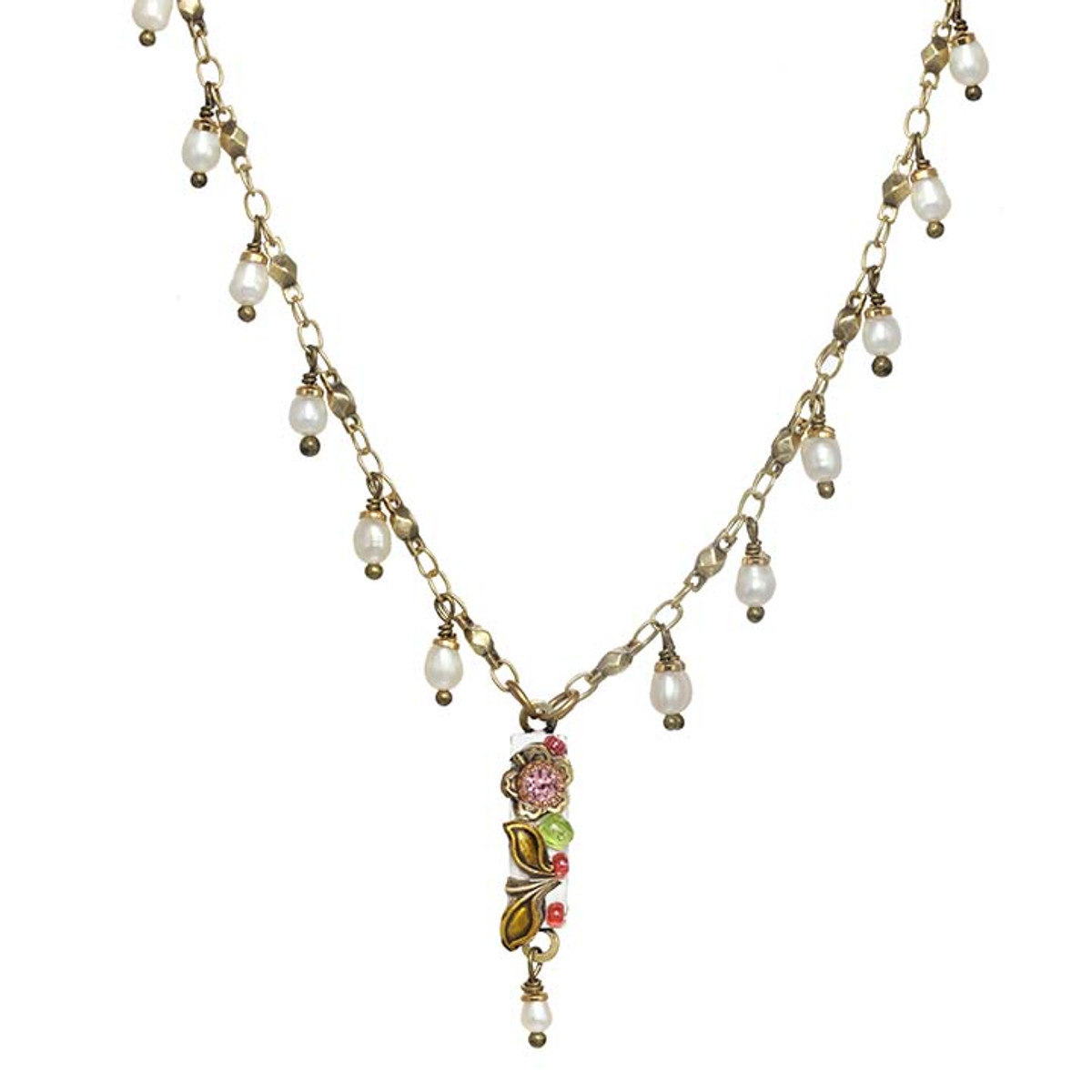 Michal Golan Pearl Blossom Dangling Bar Necklace