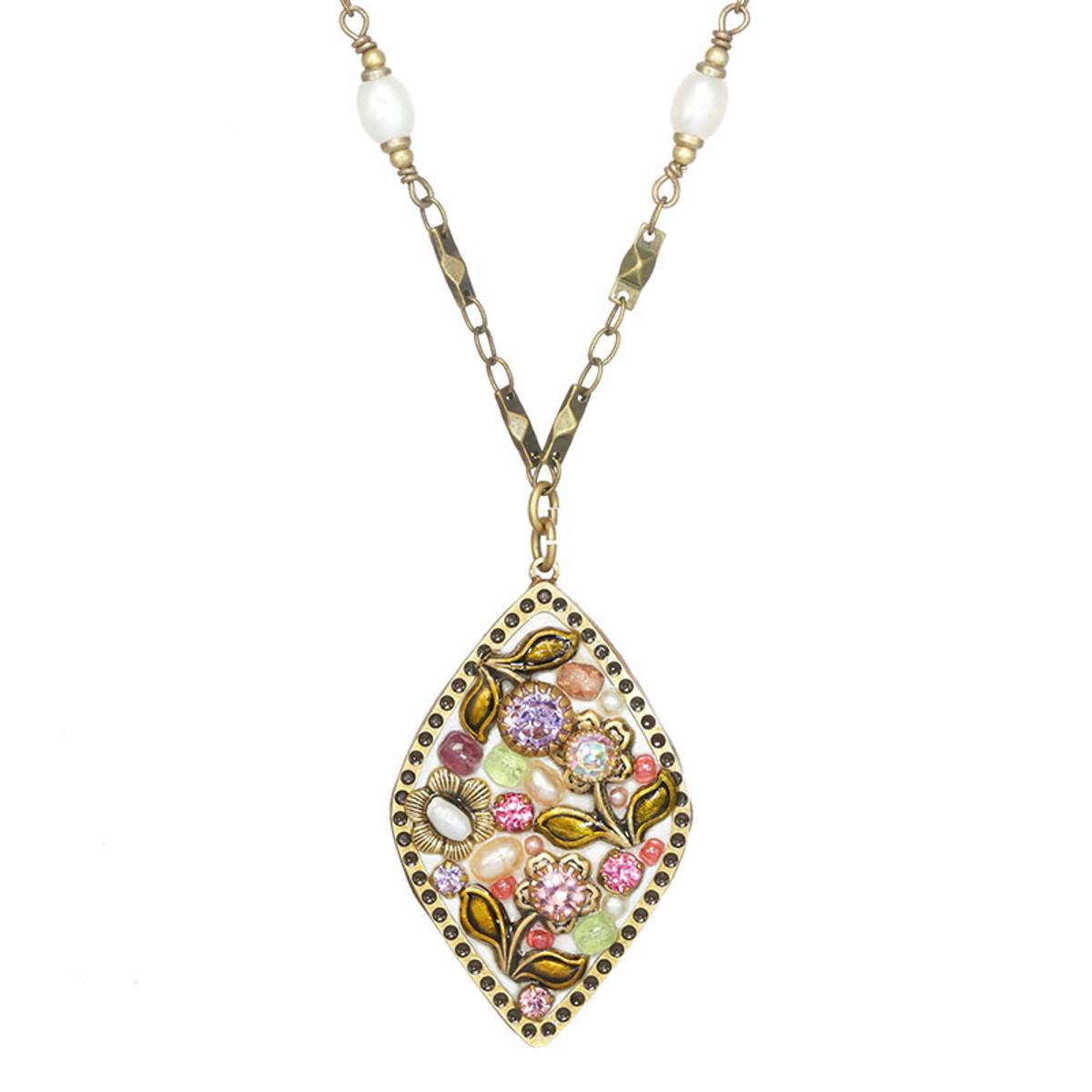 Michal Golan Pearl Blossom Diamond Pendant Necklace