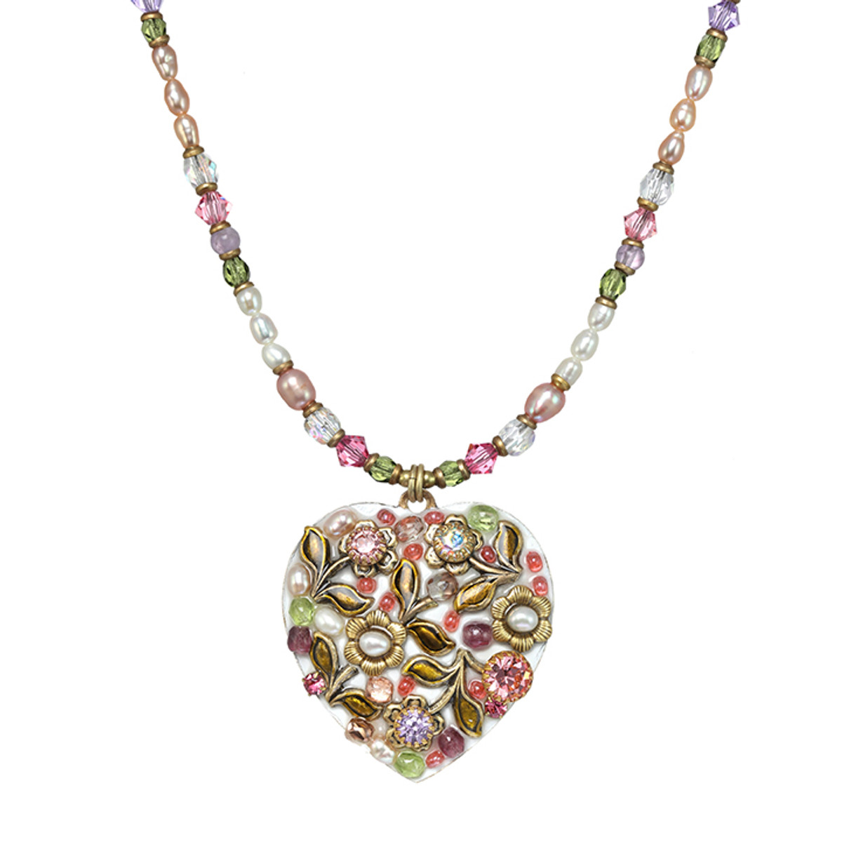 Michal Golan Pearl Blossom Medium Heart Necklace