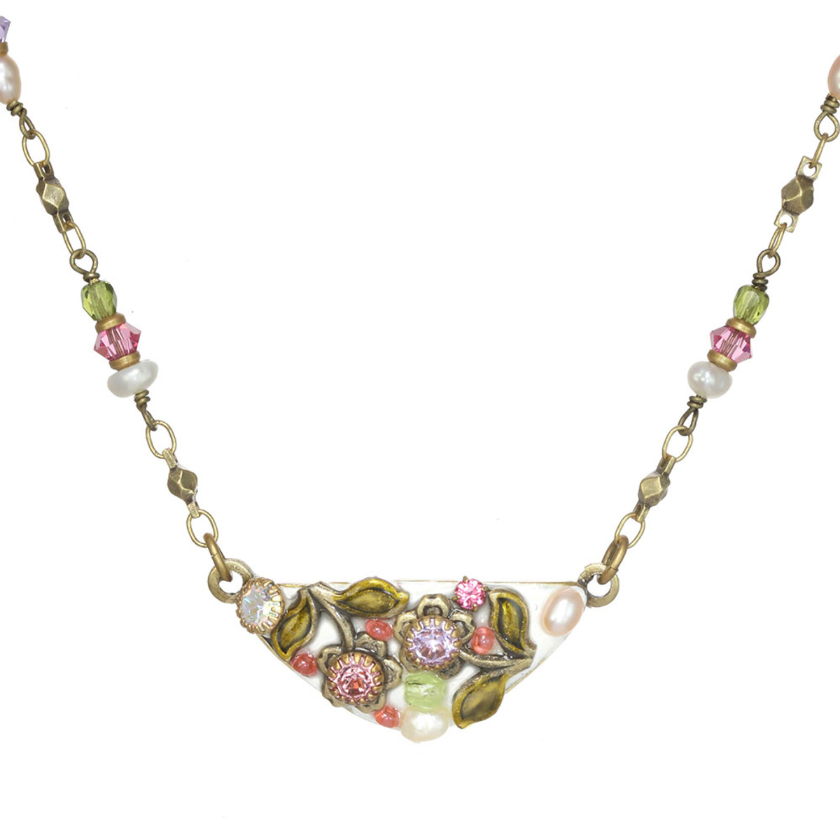 Michal Golan Pearl Blossom Crescent Necklace