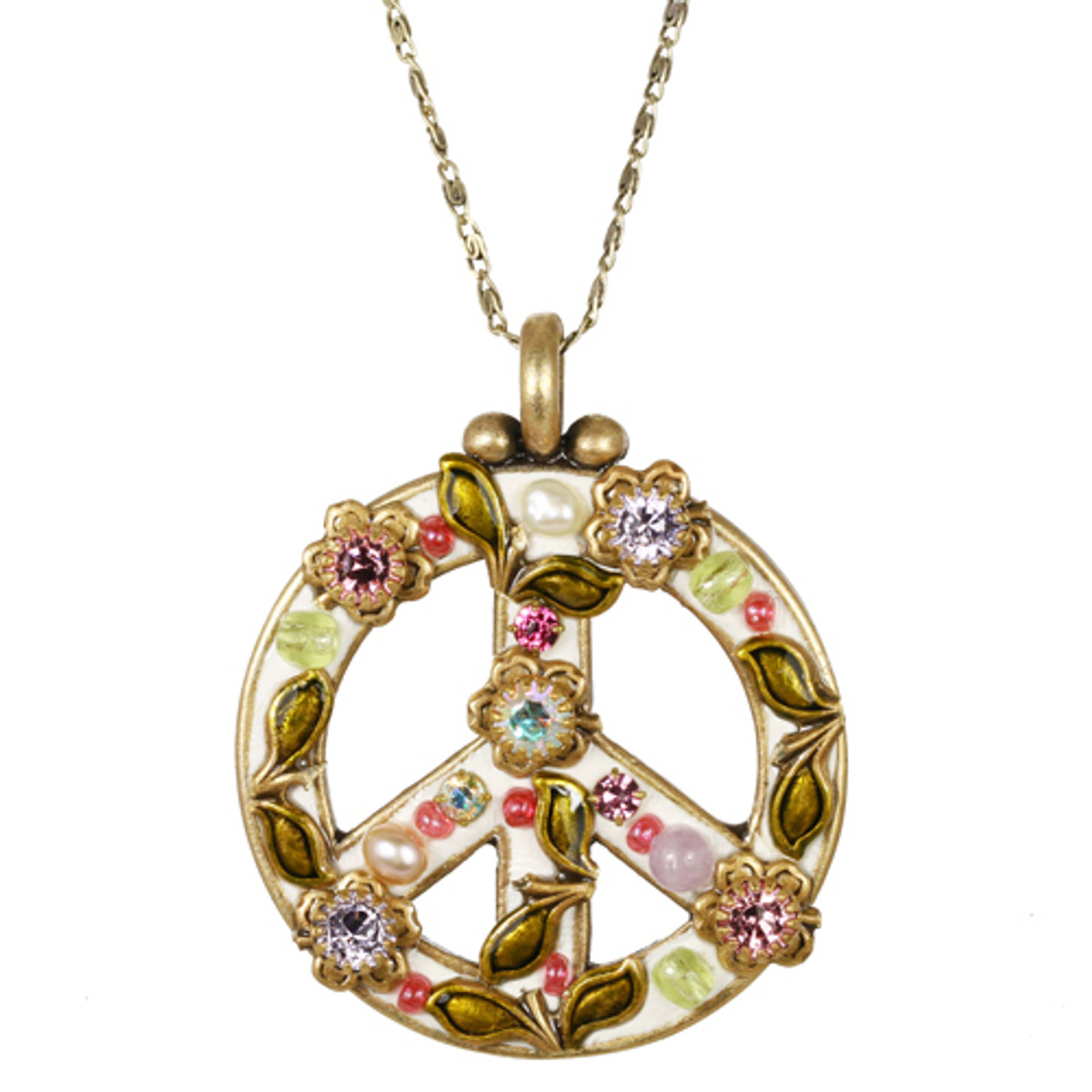 Michal Golan Pearl Blossom Peace Sign Necklace