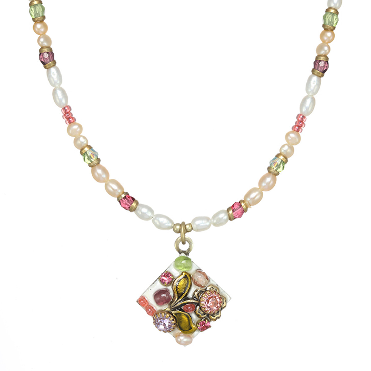Michal Golan Pearl Blossom Small Diamond Necklace