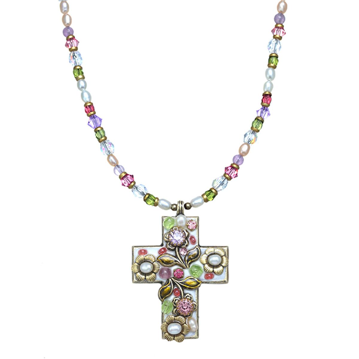 Michal Golan Pearl Blossom Medium Cross Necklace