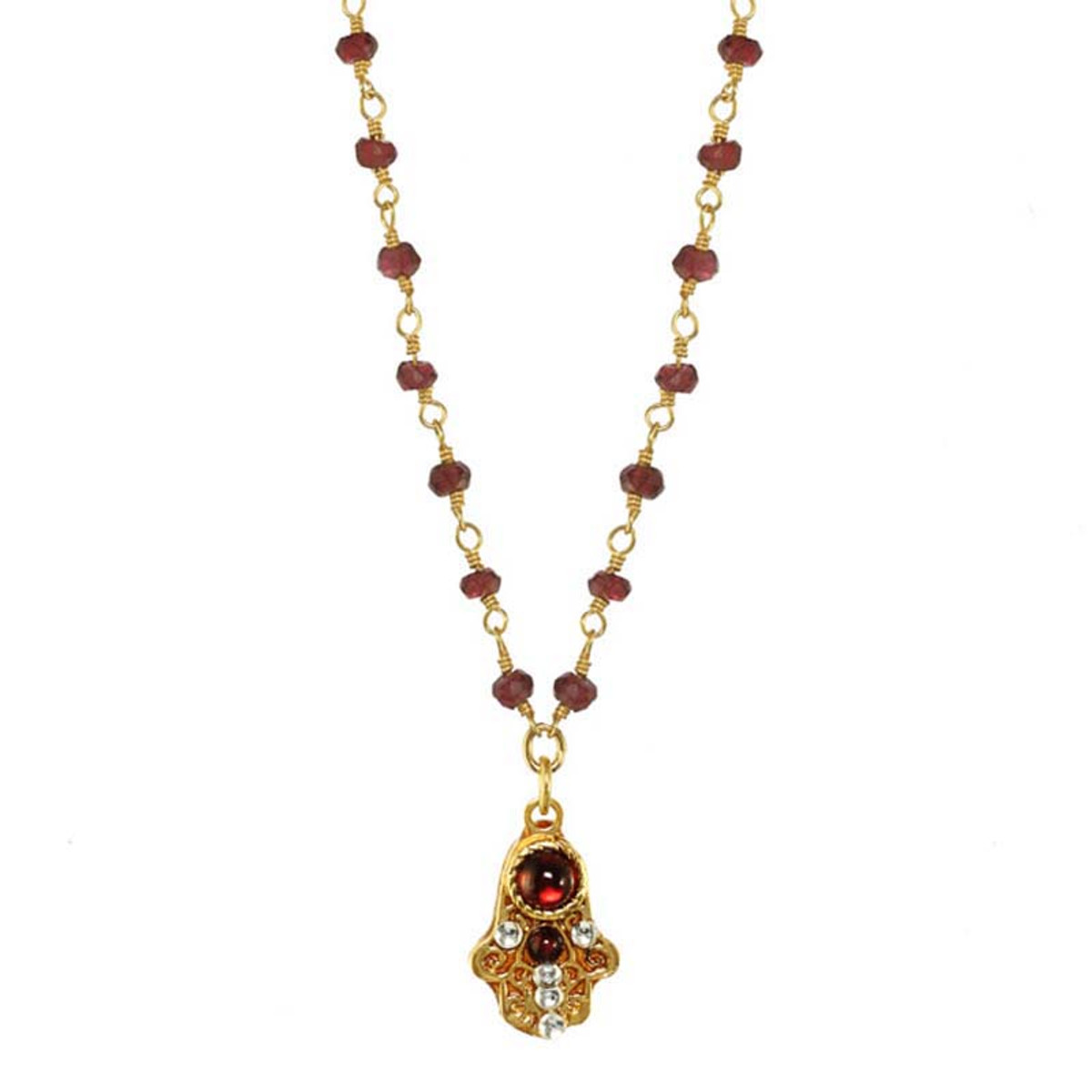Michal Golan Classic Garnet hamsa Necklace