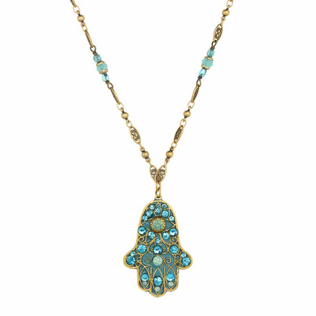 Michal Golan Large light blue hamsa necklace on single chain