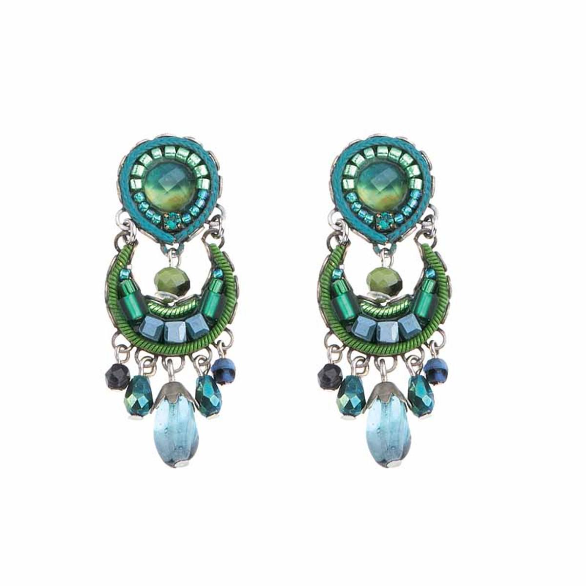 Ayala Bar Green River Crescent Moon Earrings