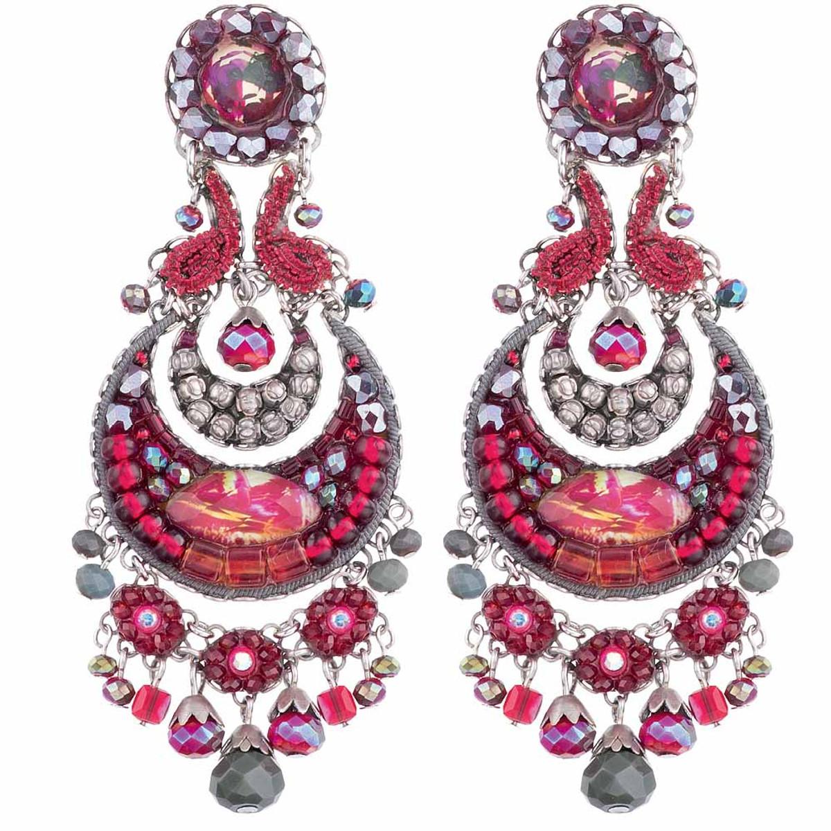 Ayala Bar Crimson Flame Dark Cherry Earrings