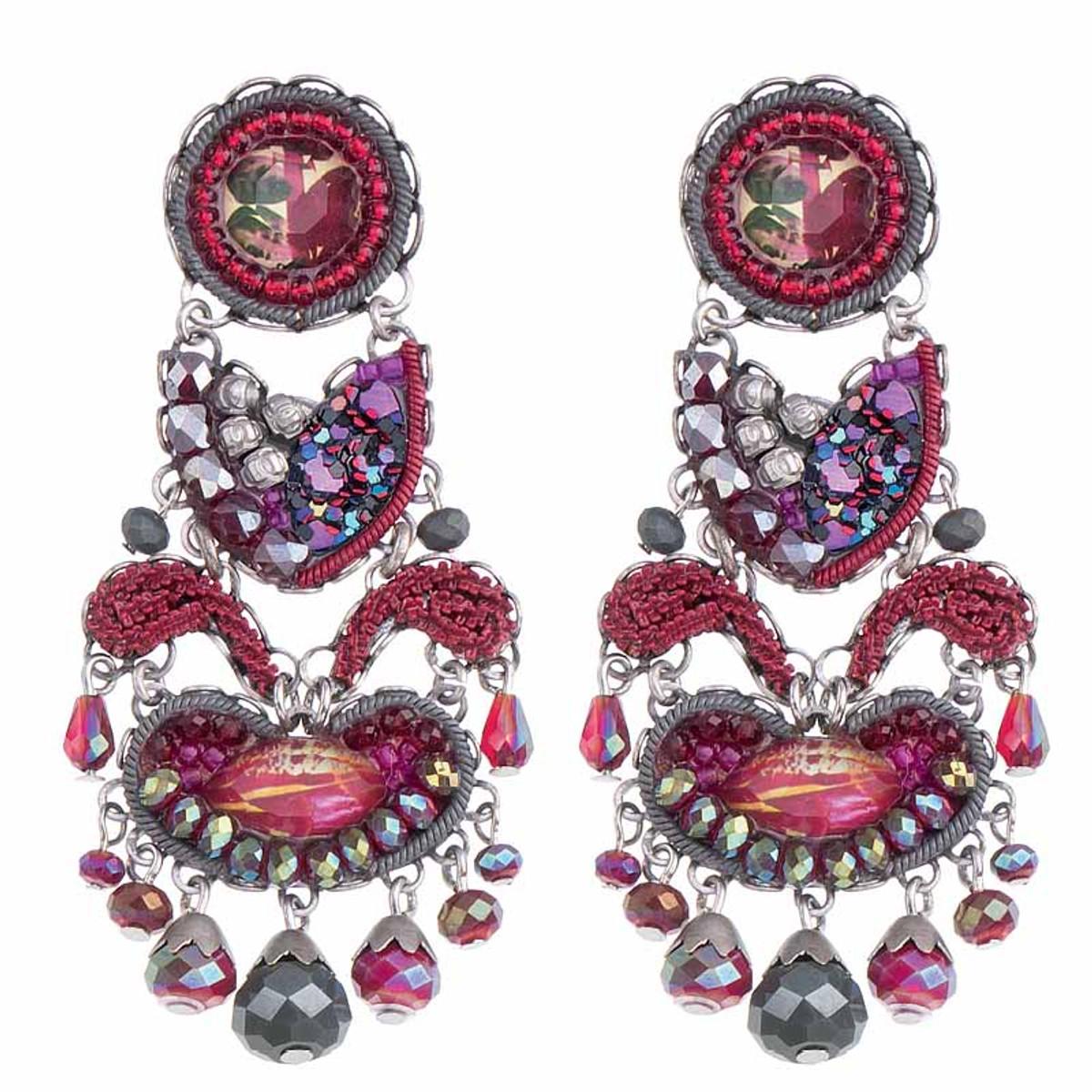 Ayala Bar Crimson Flame Wilting Rose Earrings