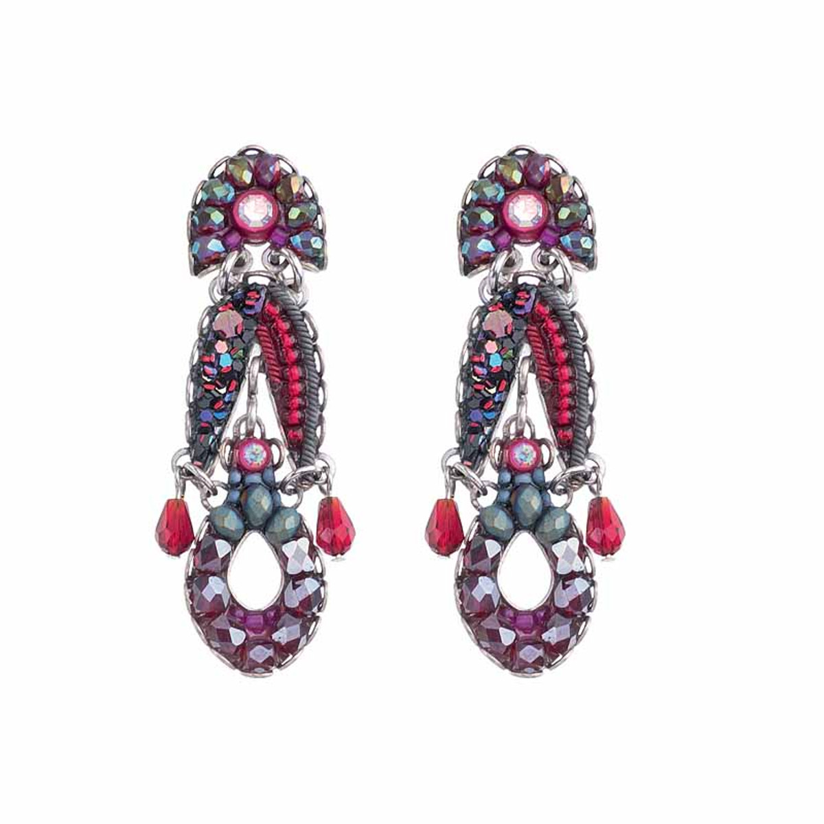 Ayala Bar Crimson Flame Cranberry Earrings
