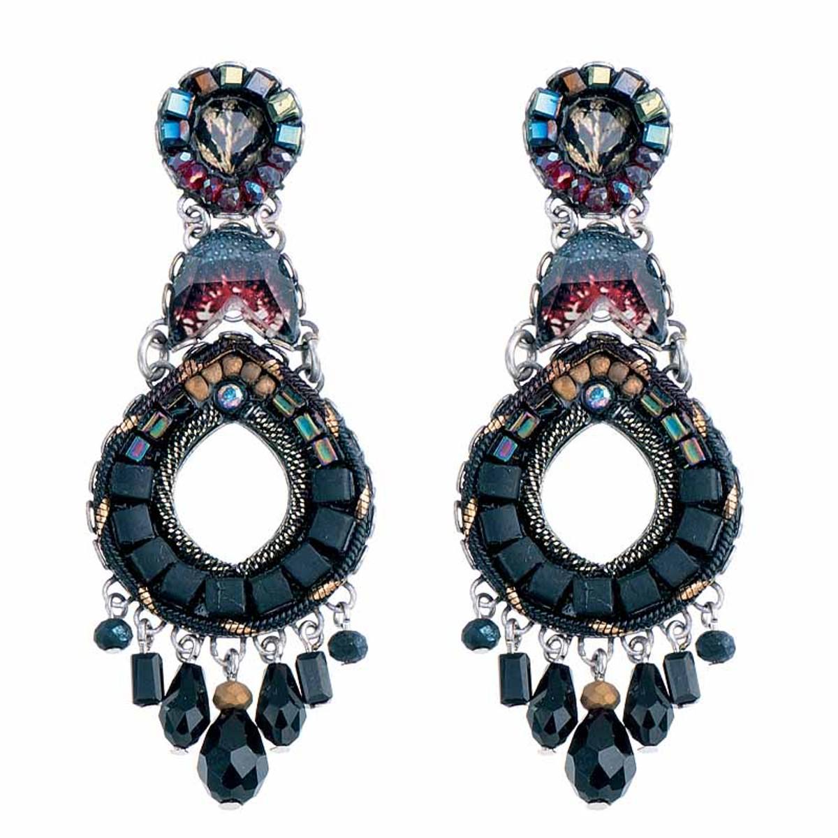 Ayala Bar Moon Jet Black Hole Earrings